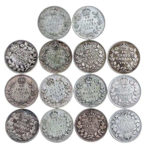 Group of 4 Canada George V Silver Dimes (401)