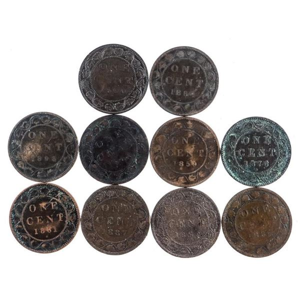 Lot of 10 Victoria Large Cents - Nice Grades  (365)