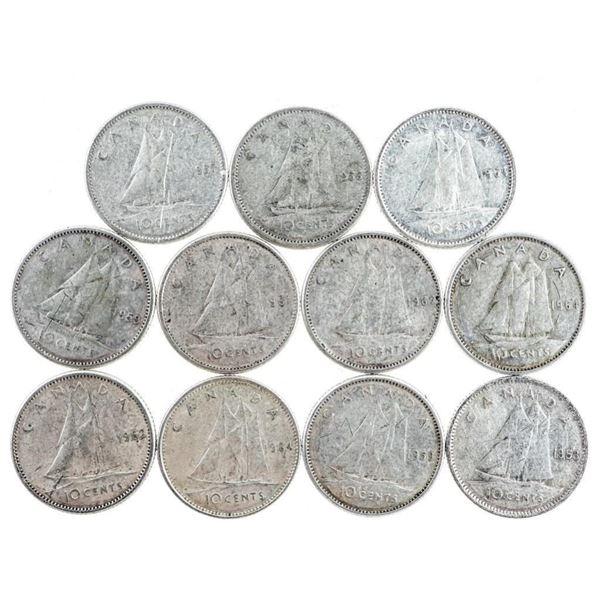 Lot of 11 Q.E. Silver Canada Dimes (428)
