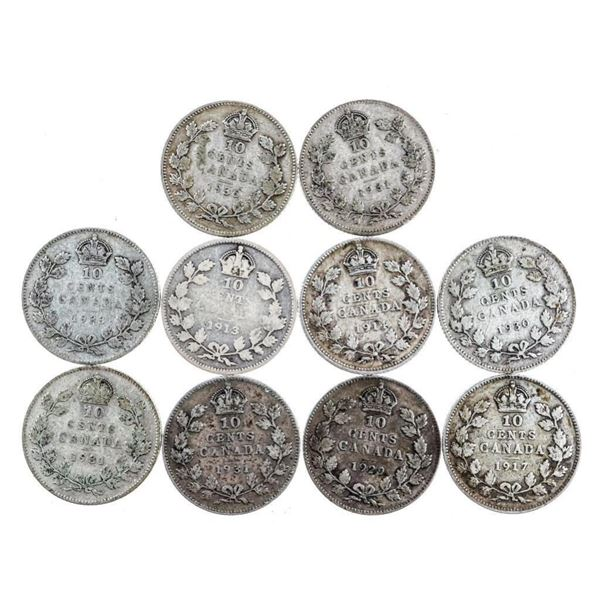 Lot 10 George V Silver Dimes 1911-1936 (381)