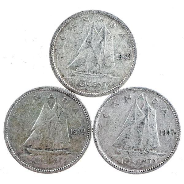Lot 3 George VI Canada Dimes 1943, 1947Leaf &  1949 (472)