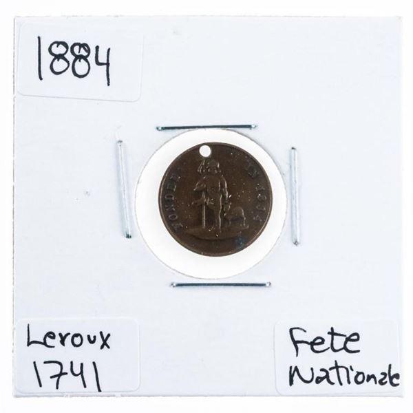 Canada 1884 LeRoux LER1741 Token Fete  Nationale 24 Juin Montreal Scarce (385)