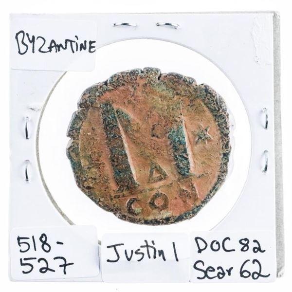 Byzantine Bronze Coin 518-527 AD-Scarce (407)