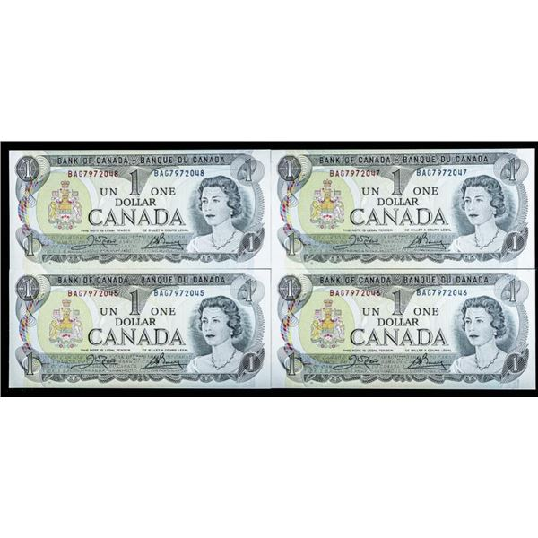Bank of Canada 1973 Group of 4 One Dollar  Notes in Sequence