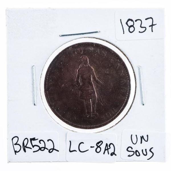 Canada Province Du Bas Canada UN Sous 1837  Half penny High Lustre