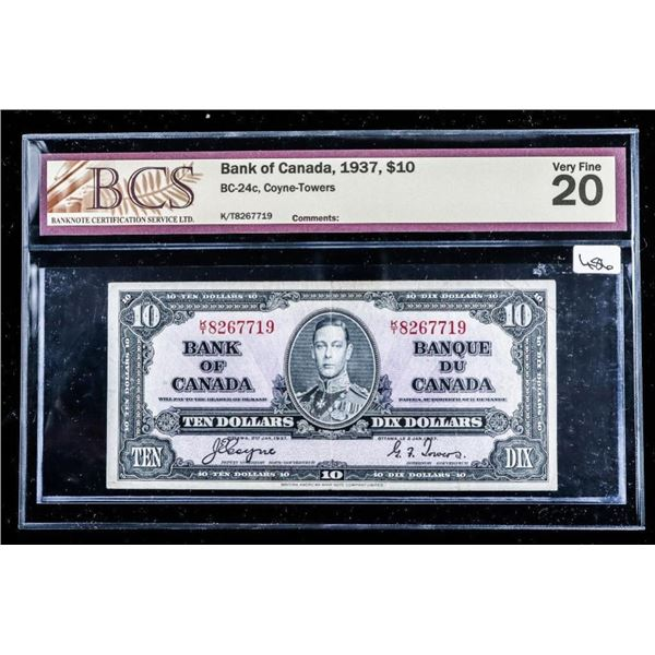 Bank of Canada 1937,$10 VF20 BCS (561)
