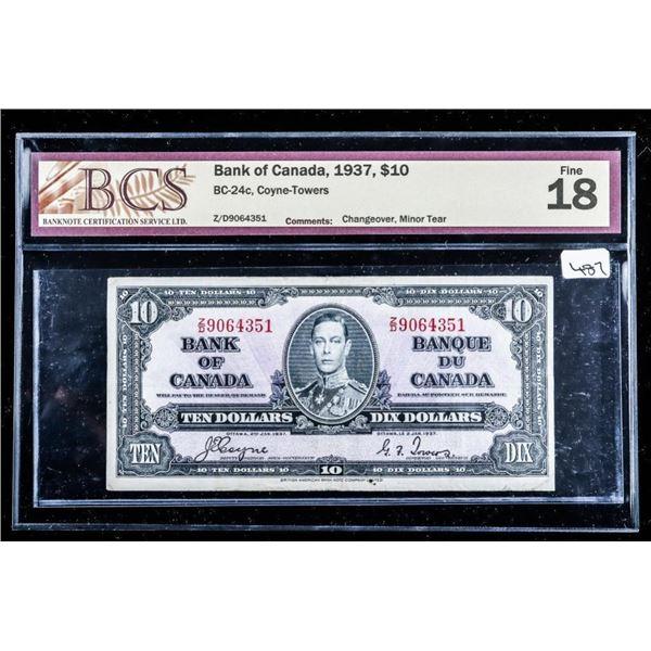 Bank of Canada 1937,$10 BCS Fine 18 (557)