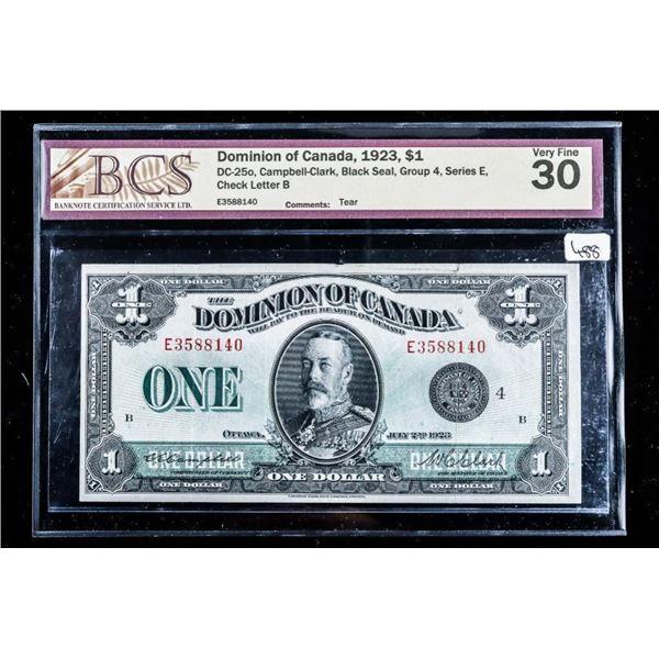 Dominion of Canada, 1923, $1 BCS VF 30 Black  Seal