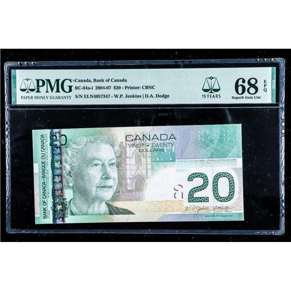 Bank of Canada 2004 -07 $20 -PMG Superb GEM  UNC 68 (567)