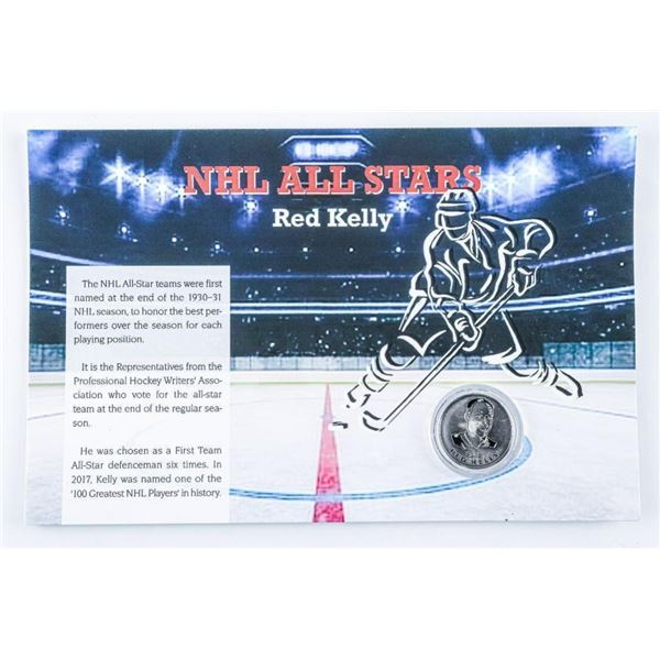 """NHL All Star """"Red Kelly"""" Collector Medallion.  On Giclee Art Card"""