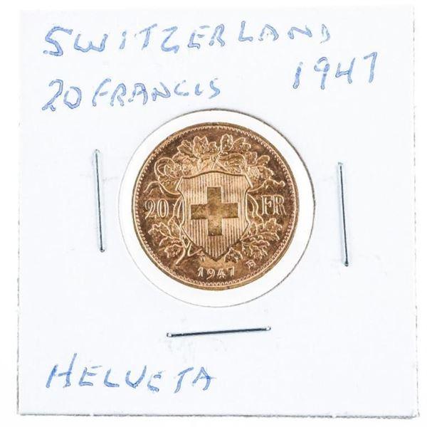 Switzerland 1947 20 Francs Heleveta Gold Coin