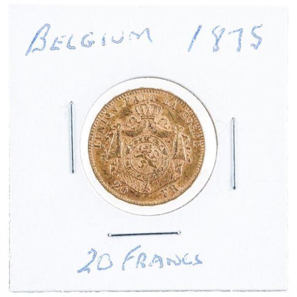 Belgium 1875 20 Francs Gold Coin