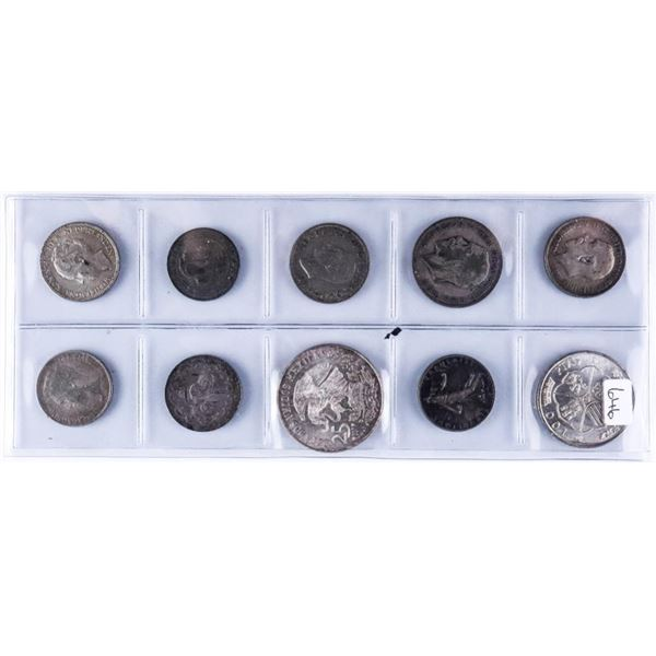Group of 10 World Silver Coins