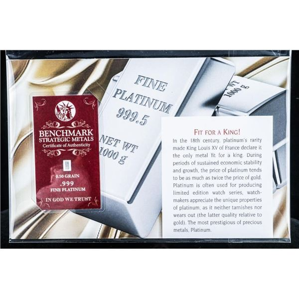 Fit For a King - .999 Fine Platinum  Collectible Bullion Bar w/ Giclee Carrier  Card