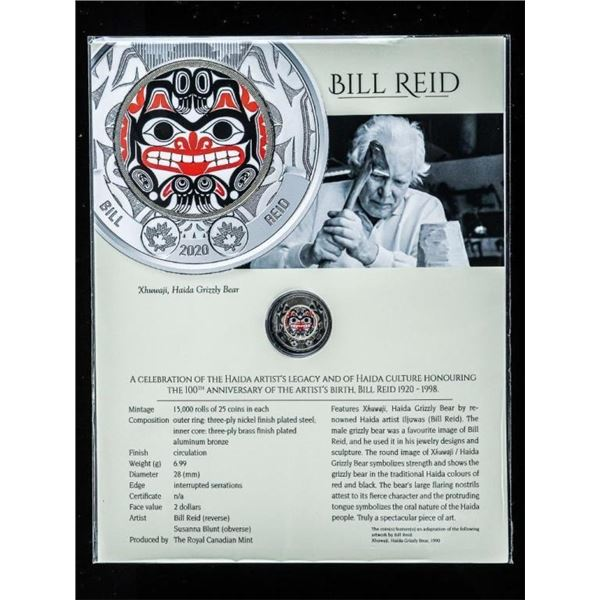 RCM Celebrates 100 Years - Bill Reid -  Special Issue $2 Coin w/ Colour Artwork   8 x 10 Giclee Art