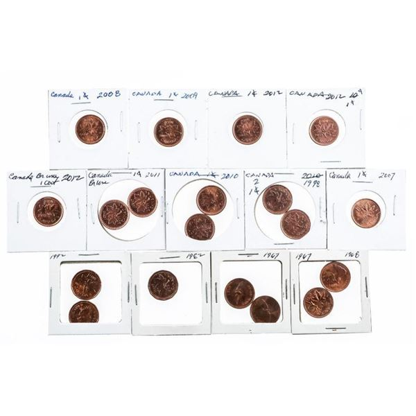 Group of (19) Canada One Cent Coins Various  issues