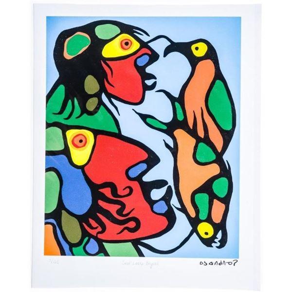 "Norval Morrisseau(1931-2007) Copper  Thunderbird - Giclee - ""The Artist W/ Spirit  Self"" 8 x 11 UF"