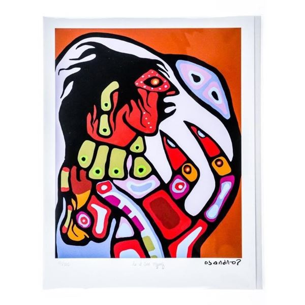 """Norval Morrisseau -Dreamscapes Suite- Giclee  - """"As I See Myself"""" Cree Syllabic Signature  in Plate"""