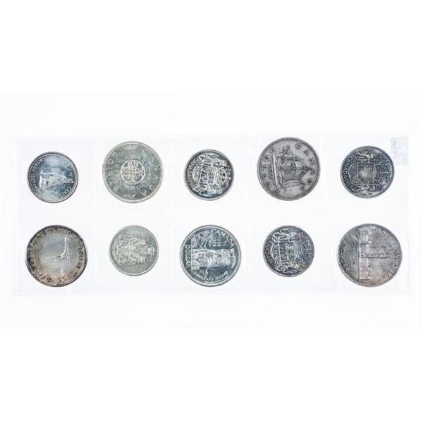 Group 10 Ten Silver Coins - 5 Silver Dollars  & Half Dollars Matching Dates  1939,1949.1958,1964,196