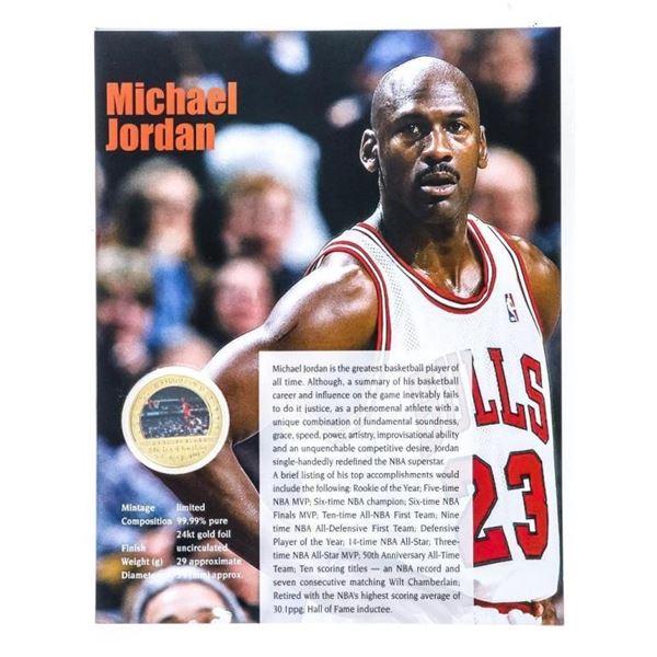 Michael Jordan -MVP 24kt Gold Medallion w/  Art Card Giclee Display Card