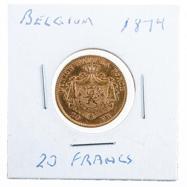Belgium 1874 20 Francs GOLD Sovereign