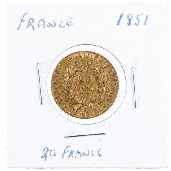 France 1851 20 Francs Gold Coin