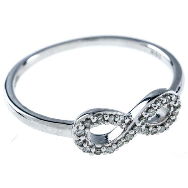 Ladies 10kt Gold Infinity Symbol ring,22  Diamonds G-H TRRV $1000.00