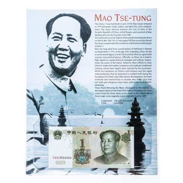 MAO TSE-TUNG China 1 YUAN Banknote - GEM UNC  w/8x 10 Giclee Art card