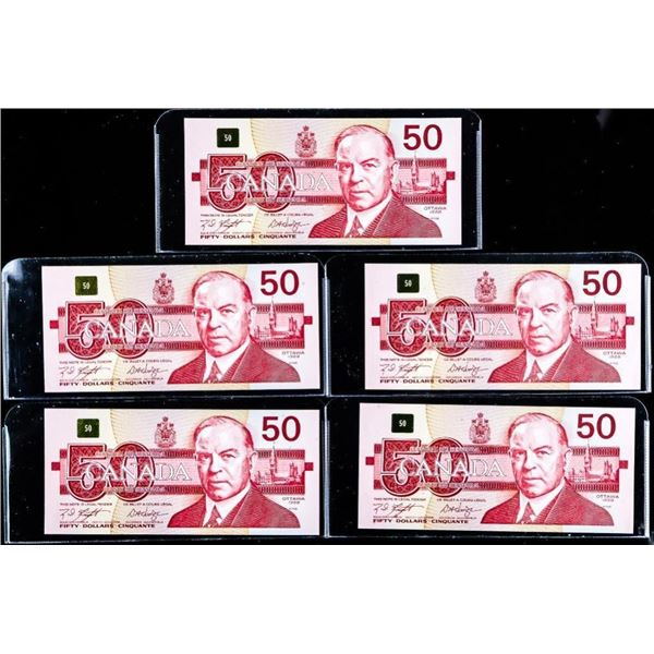 Lot 5 Bank of Canada $50- 4 in Sequence - 1  out of Sequence -UNC
