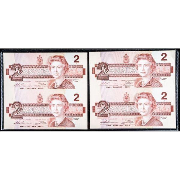 Lot of (2) Bank of Canada 1986 Uncut 2.00.