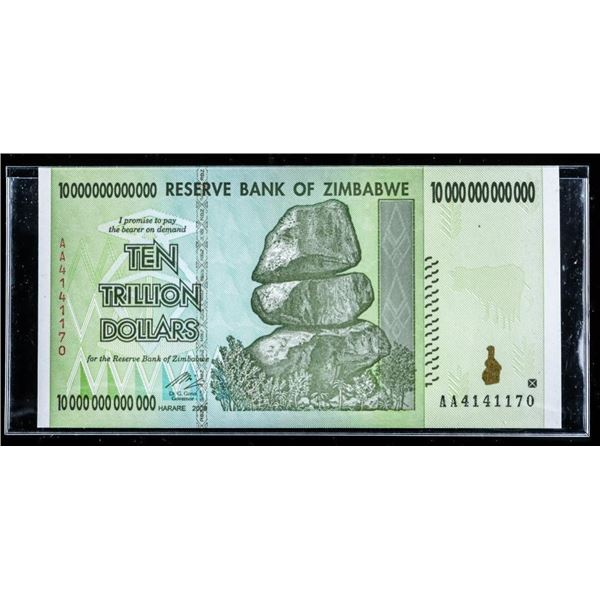Reserve Bank of Zimbabwe -Ten trillion  Dollars - Official issued w/ Serial Number
