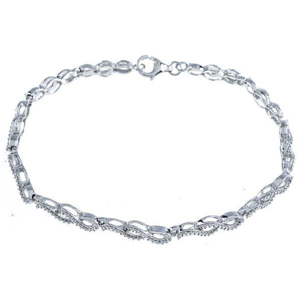 925 Sterling Silver Bracelet, Diamond Set  Infinity Design