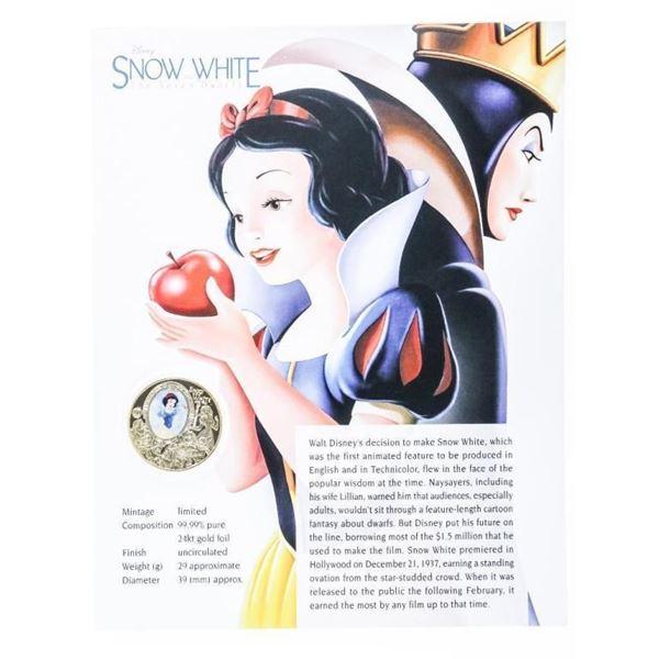 Disney - Snow White 24kt Gold Foil UNC  Medallion w/ 8 x 10 Giclee Art Card