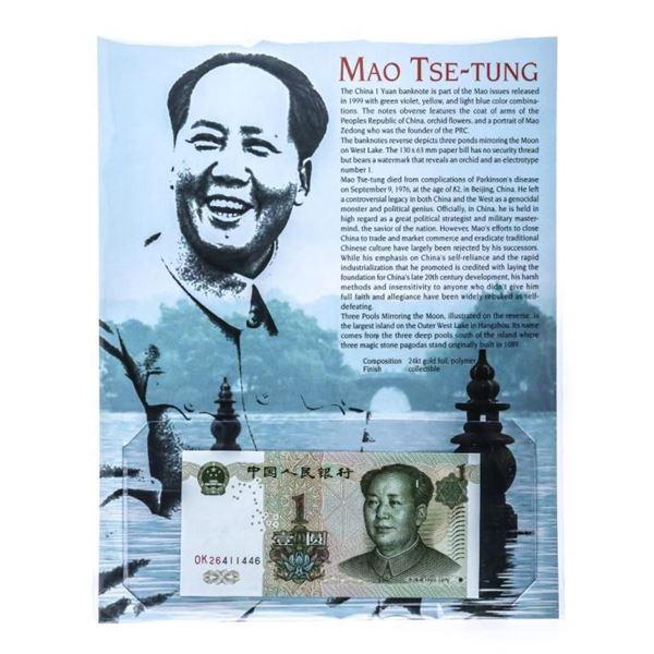 MAO TSE TUNG 1893-1976 China 1 Yuan Note GEM  UNC w/ 8 x 10 Giclee Art card