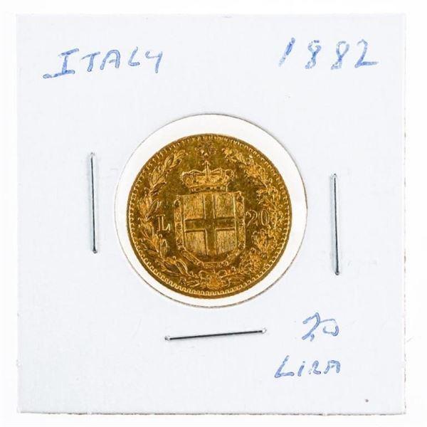 Italy 1882 Gold 20 Lira Coin