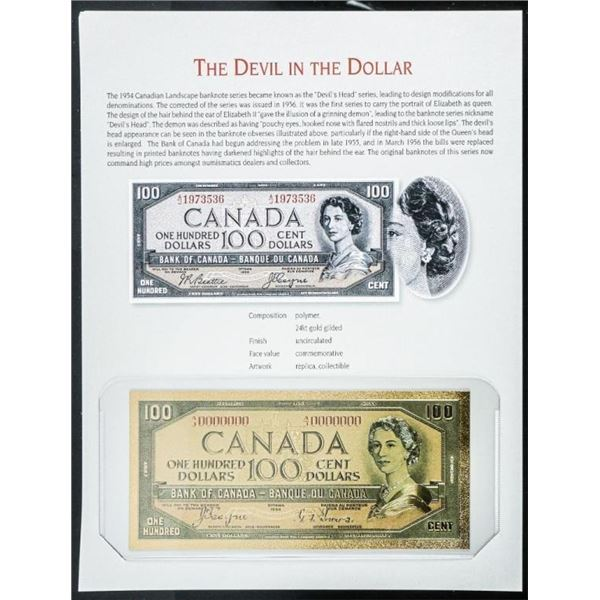 The Devil in The Dollar 24 Kt Gold Gilded  Polymer Replica Note w/ 8 x 10 Giclee Art  card