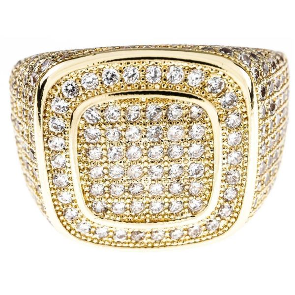 Gents 18kt GP/Stainless Steel Micro Pave Set  Ring Size 11 - Swarovski Elements