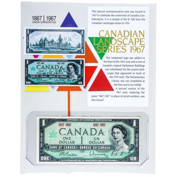 Bank of Canada Landscape Series 1967 One  Dollar - Recalled in 2020. w/ 8 x 10 Art card