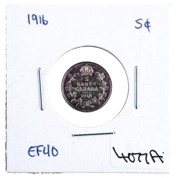 Canada 1916 Silver 5 Cents EF40