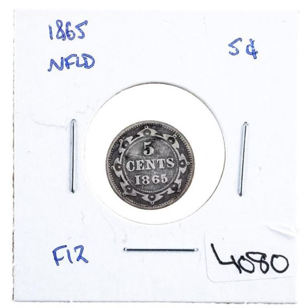 1865 NFLD Silver 5 cents