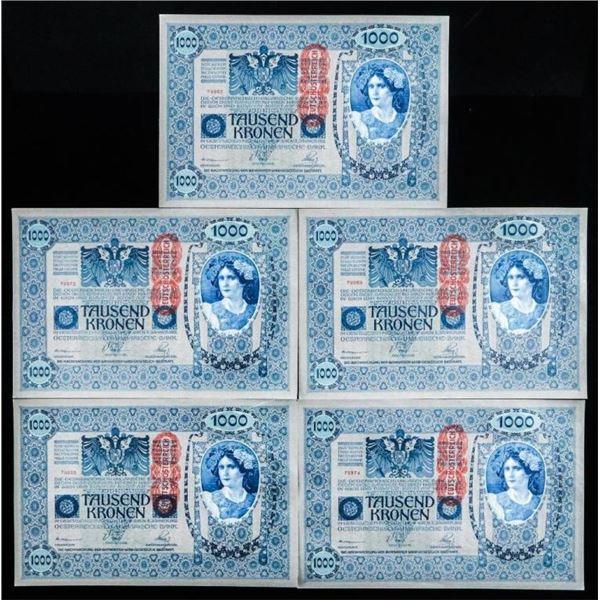 Lot (5) Austria 1000 Kronen Notes Series 1658  AU