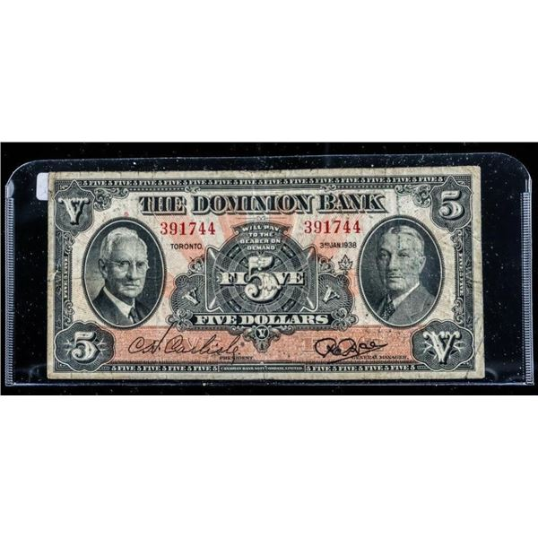 The Dominion Bank 1938 $5