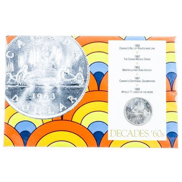 Decades 60's - 1966 Canadian Silver Dollar on  Display Art card