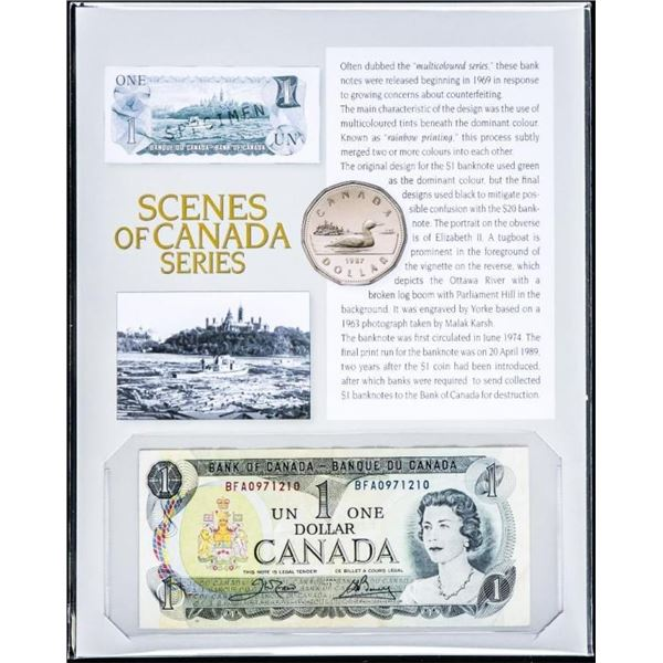 Bank of Canada 1973 $1 - Recalled in 2020, on  Giclee Art Board