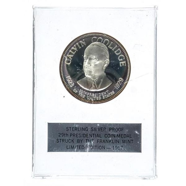 925 Sterling Silver Medal/Coin - 30th  President of The USA - Calvin Coolidge  Limited Edition -1967