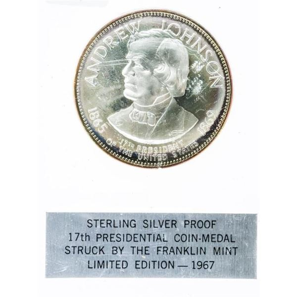 Presidential 925 Sterling Silver Proof Coin -  Medal - Andrew Johnson