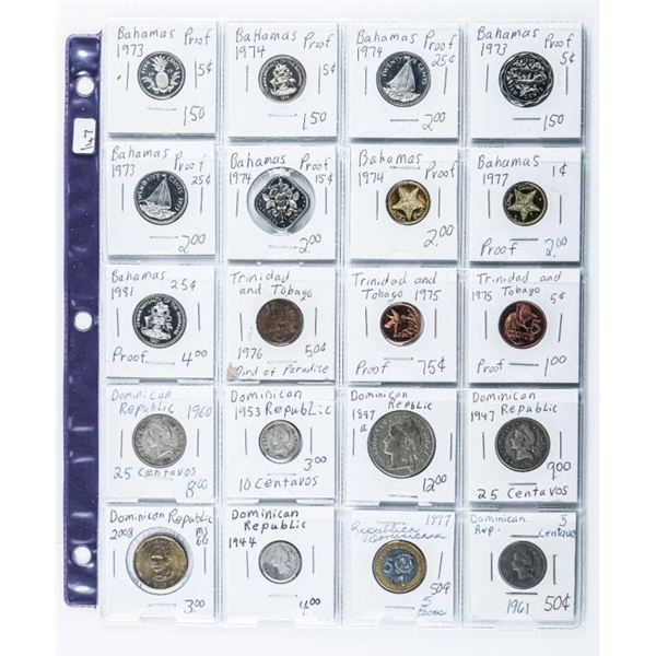 Group of (20) Island Coins Bahamas and  Dominion Rep