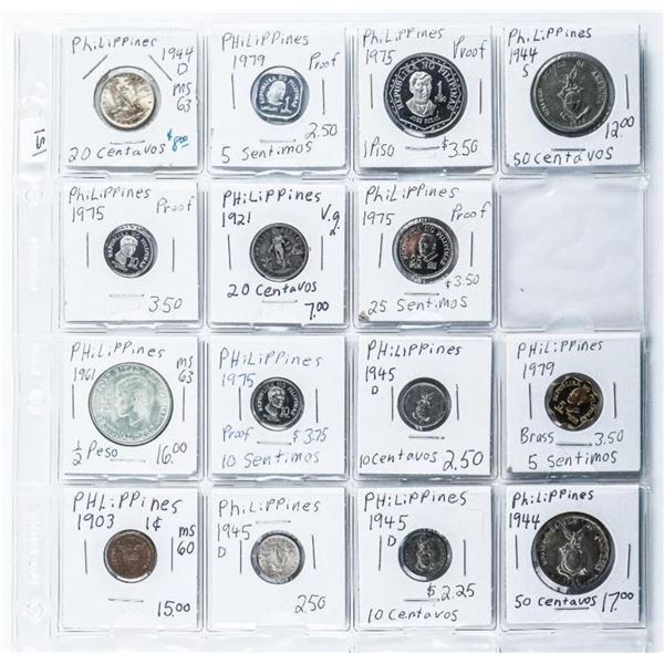 Group of (15) Coins 'Philippines' Includes  Silver Issues