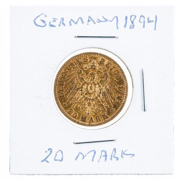 Germany 1894 20 Mark Gold Coin