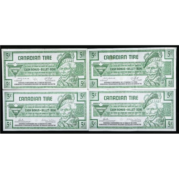Lot of (4) Canadian Tire 5 Cent Cash Bonus